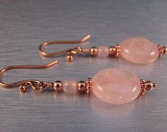 Rose Quartz Earrings in Copper, Steampunk, Victorian Style, Soft and Feminine