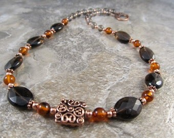 Amber Necklace with Smoky Quartz & Antiqued Copper
