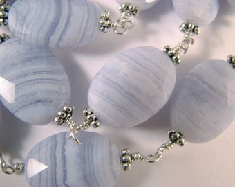 Blue Lace Agate Necklace in Sterling Silver, Wire Wrapped Links