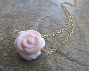 Pink Conch Shell Flower Pendant Station Necklace in Gold Fill
