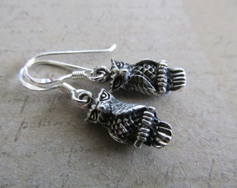 Owl Earrings in Sterilng Silver