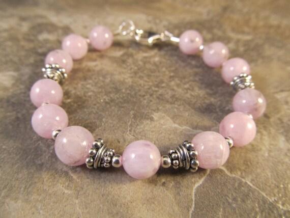 Pink Kunzite & Sterling Silver Bali Bead Bracelet