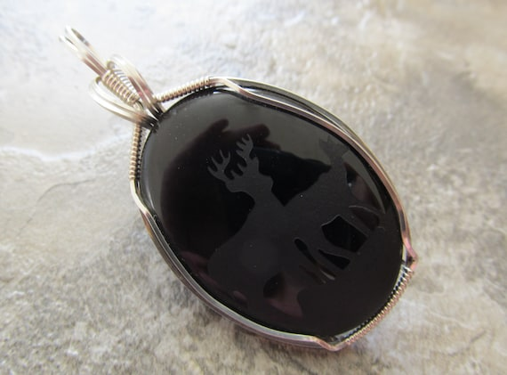 Wire Wrapped Pendant Deer Etched Black Onyx in Sterling Silver- One of a Kind - Wirewrapped Wire-Wrapped