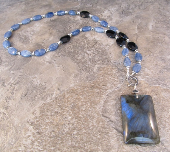 Labradorite and Kyanite Necklace, Black Onyx & Antiqued Sterling Silver Bali Bead  - Winter Is Coming