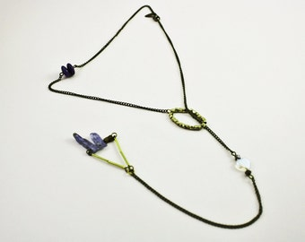 Blue Kyanite Necklace geometric with sodalite, brass cubes and tubes and a glass heart No. 59