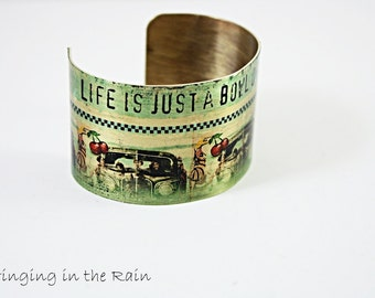 Cuff  Bracelet  Quote /Life is Just a Bowl of Cherries/ Art Vintage Style Brass Cuff Adjustable