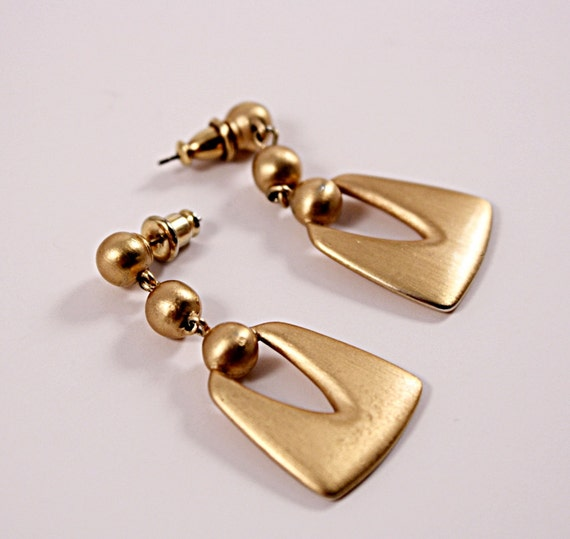 Vintage Earrings Door Knocker Style in a Goldtone Matte Finish - pierced  No. 40