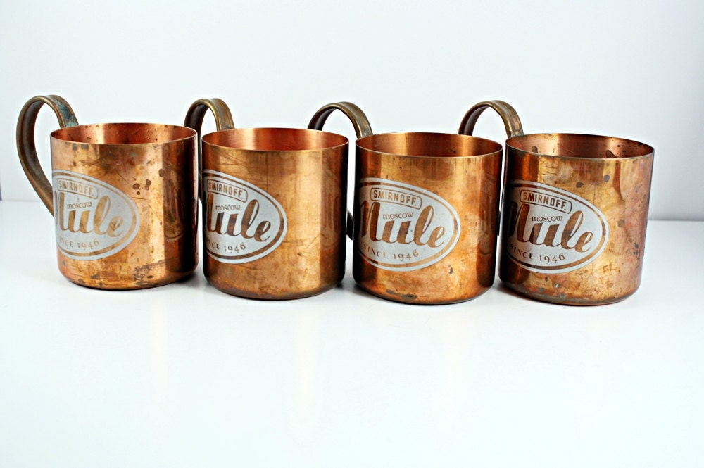 Vintage Moscow Mule Copper Mugs With The Smirnoff Logo