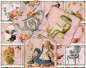 Digital collage sheet vintage images. 2 inch 5cm squares. Scrapbooking decoupage flowers Alice in Wonderland. buy any 2 get 1 FREE no:46