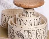 """Alice in Wonderland Cotton Fabric Ribbon. Hand Printed 1m x 25mm /40""""x 1""""  Alice cotton tape. Alice gift wrap. for cushions bags etc. no17"""