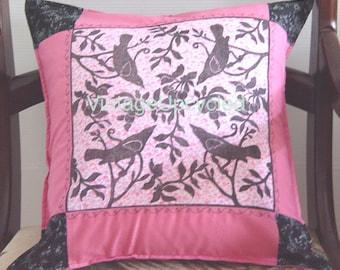 French Shabby Chic Pillow-SALE- Bird Linocut Print 16x16 inch  40 x 40 cm