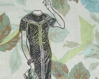 Sale-Vintage Fashion Pillow Cover- Shabby Chic Retro- Floral Fabric- Artist Linocut Art- 16 x 16 inch 40 x 40 cm