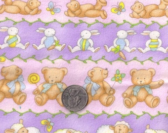 "SALE-Cotton Flannel Fabric-Kids Nursery Baby- Teddy Bear Bunny Print  42"" x 1 yard  106 cm x 91 cm"