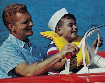 Vintage Boating Ads- 2 Nuclear Family Retro- Frame as Art- 50s- 7 x 10 inch 18 x 25 cm
