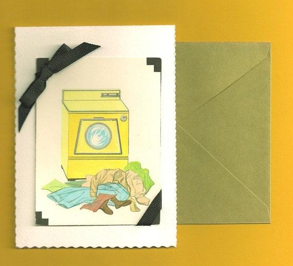 Handmade Blank Card- Mid Century Retro Housewife- Laundry Housework