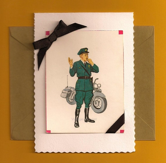 Reserved for Ann C Handmade Blank Card- Mid Century Retro- Flashcard- Policeman Motorcycle