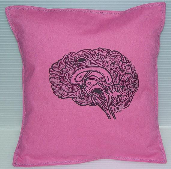 Geekery Girl Pillow Cushion Linocut Brain Print  Different Colors-10 x10  25 x 25 cm