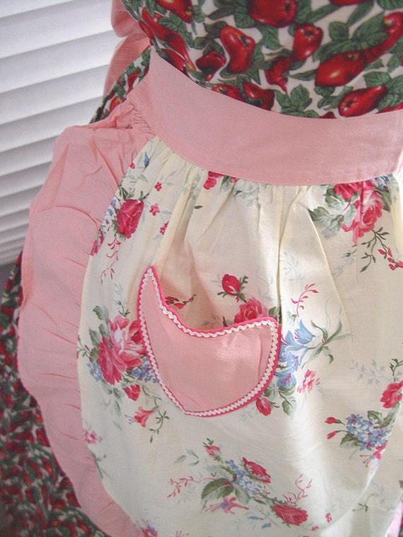 Vintage Floral Apron- Pink Retro Ruffled Skirt-1940