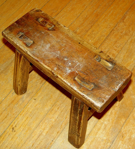 Childs Bench Seat- Toddler Chair- Japanese Milking Stool- 11 x 7 x 7.5 inches  28 x 18 x 19 cm
