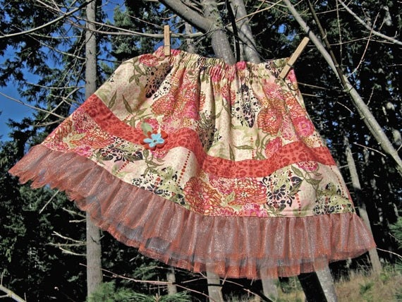 Girls floral knee length skirt - coral black ivory REDUCED PRICE