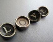 Vintage Typewriter Keys - LOVE - Steampunk, Altered Art and Mixed Media Art (tk54)