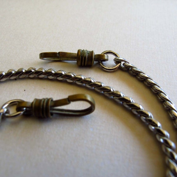 """Silver-Toned Mixed Metal Watch Chain - 14 7/8""""- For Steampunkers with pocket watches WS25"""