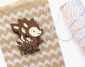 5 Die Cut Deer / Fawn Layered Embellishments (3 x 2 inches) in Maltball Brown, Nougat Brown, and Almond Cream Smooth Cardstock