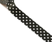 1 Roll of Black and White Polka Dot (Big Dots) Masking Tape / Japanese Washi Tape (.60 inches x 33 feet)