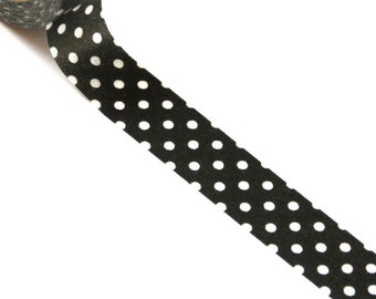 WASHI TAPE CLEARANCE - 1 Roll of Black and White Polka Dot (Big Dots) Masking Tape / Japanese Washi Tape (.60 inches x 33 feet)