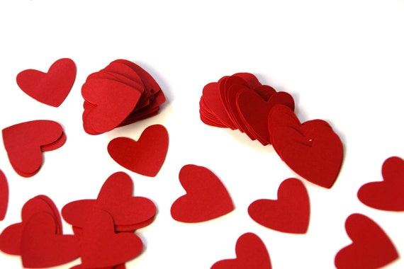 100 Die Cut Heart Confetti / Embellishments (1 inch) in Cherry Splash Red Smooth Cardstock