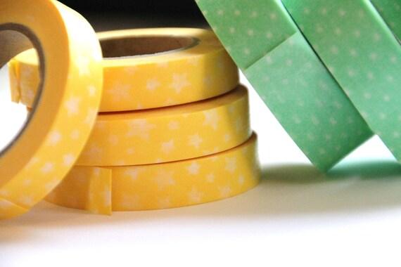 1 Roll of Cath Kidston Yellow Stars Masking Tape / Japanese Washi Tape (39 ft.)