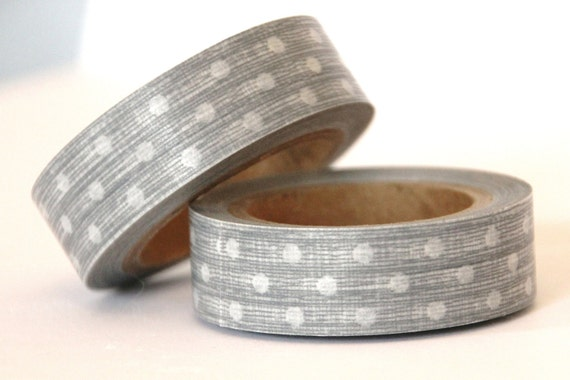 1 Roll of Silver Gray and White Polka Dots Masking Tape / Japanese Washi Tape (.60 inches x 33 feet)