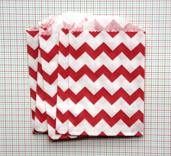 15 Red Chevron Bitty Bags (Treat Bags, Favor Bags, Gift Wrap, Envelopes) - 2.75 x 4 inches