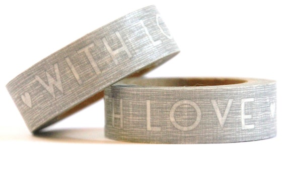 1 Roll of Antique Silver Gray and White WITH LOVE Hearts Masking Tape / Japanese Washi Tape (.60 inches x 33 feet)