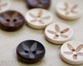Wood)) refreshing flowers (3pcs)-2 holes(15mm) button-happybongbong