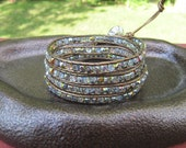 Crystal Leather Wrap Bracelet with Bronze Leather