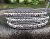 Sterling Silver Triple Grey Beaded Leather Wrap Bracelet