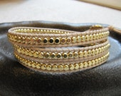 Triple Natural Tan  Beaded Leather Wrap Bracelet with Gold Cube Beads