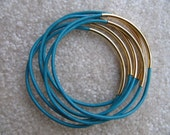 Turquoise Leather Bangle with Gold - Set of 6