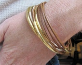 Natural Brown Leather Bangles with Gold - Set of 6
