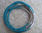 Turquoise Leather Bangle with Silver - Set of 6