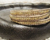 3 x Wrap Gold Nugget Triple Wrap Beaded Leather Wrap Bracelet with Tan Leather