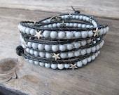 Grey Feldspar Beaded Leather Wrap Bracelet with Silver Stars