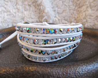 Crystal Beaded Leather Wrap Bracelet with White Leather