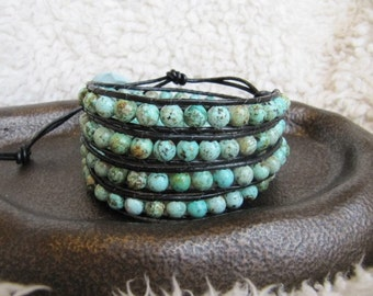 Beaded Leather Wrap Bracelet with African Turquoise Gemstones