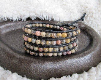 Beaded Gemstone Leather Wrap Bracelet with Leopard Jasper