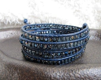 Midnight Blue Crystal Beaded Leather Wrap Bracelet - Leather Wrap Bracelet - Blue Wrap Bracelet - 4x wrap bracelet