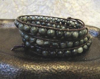 Seaweed Quartz Triple Beaded Leather Wrap Bracelet