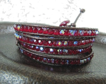 Valentine's Ruby AB Crystal Czech Beaded Leather Wrap Bracelet