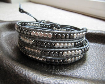 Sterling Silver and Gunmetal Grey Beaded Leather Wrap Bracelet with Silver Leather